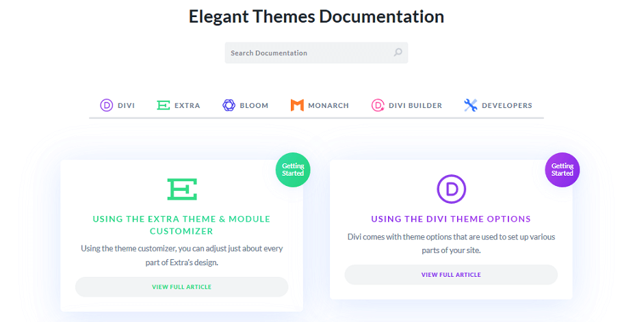 elegant themes - documentation of all products