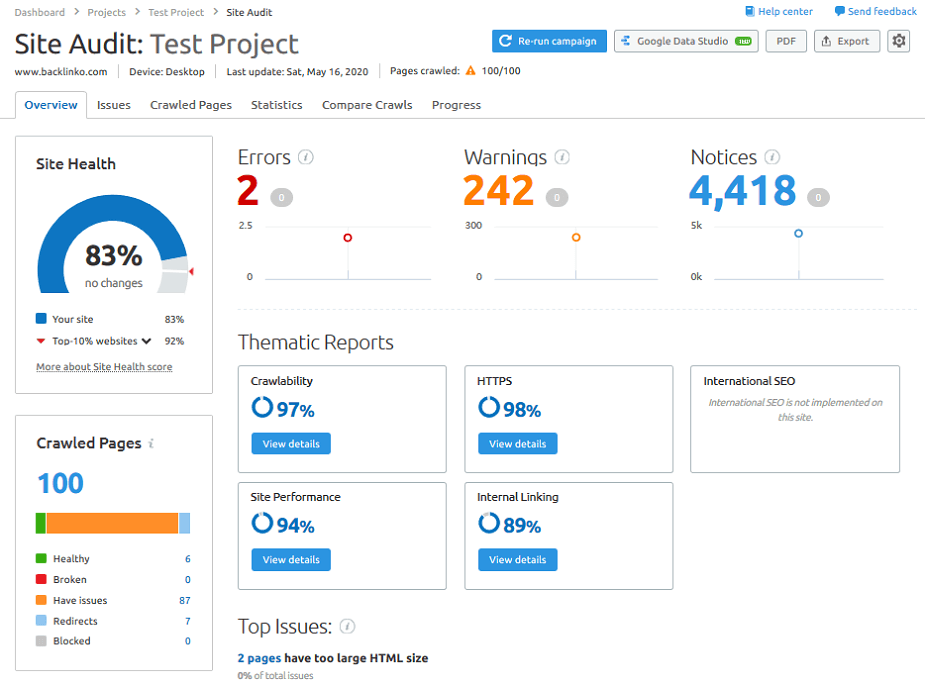 site audit results